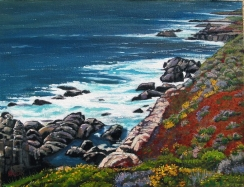 Rocky coast with yellow flowers